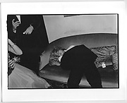 Guest sleeping at Mrs. Phillips dance for her daughter. Boodles. 1982.