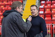 Forest Green Rovers manager, Mark Cooper being interviewed prior to the Vanarama National League match between Gateshead and Forest Green Rovers at Gateshead International Stadium, Gateshead, United Kingdom on 18 February 2017. Photo by Shane Healey.