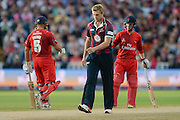 Ashwell Prince and Alex Davies acknowledge a boundary off the bowling of David Willey during the NatWest T20 Blast final match between Northants Steelbacks and Lancashire Lightning at Edgbaston, Birmingham, United Kingdom on 29 August 2015. Photo by David Vokes.