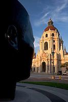 Jackie Robinson Sculpture Looking at Pasadena City Hall, Pasadena, California