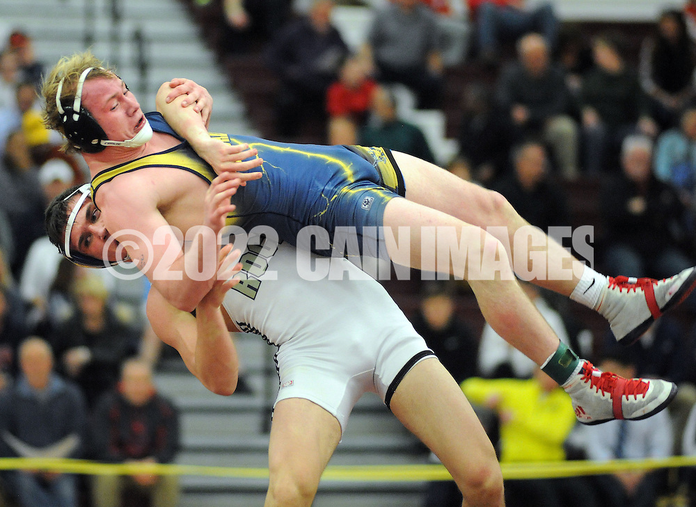 Council Rock North's Josh Shalinsky lifts Sun Valley's Alex Elliott during the 160 pound match at the Southeast Class AAA wrestling regionals at Oxford High School Saturday, February 28, 2015 in Oxford, Pennsylvania. Shalinsky defeated Elliott to win the championship. (Photo by William Thomas Cain/Cain Images)