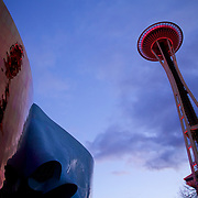 Lit up for New Years, the Needle forms the iconic part of the Seattle skyline from any angle