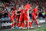 Wales players celebrate their goal during the UEFA European 2020 Qualifier match between Wales and Azerbaijan at the Cardiff City Stadium, Cardiff, Wales on 6 September 2019.