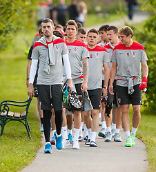 24.05.2014, Trainingsplatz, Bad Tatzmannsdorf, AUT, FIFA WM, Vorbereitung Kroatien, im Bild Stipe Pletikosa, Mario Mandzukic, Ognjen Vukajevic, Nikica Jelavic, auf dem Weg zum Trainig. // during the Trainingscamp of Team Croatia for Preparation of the FIFA Worldcup Brasil2014 at the trainings court in Bad Tatzmannsdorf, Austria on 2014/05/24. EXPA Pictures © 2014, PhotoCredit: EXPA/ Sascha Trimmel
