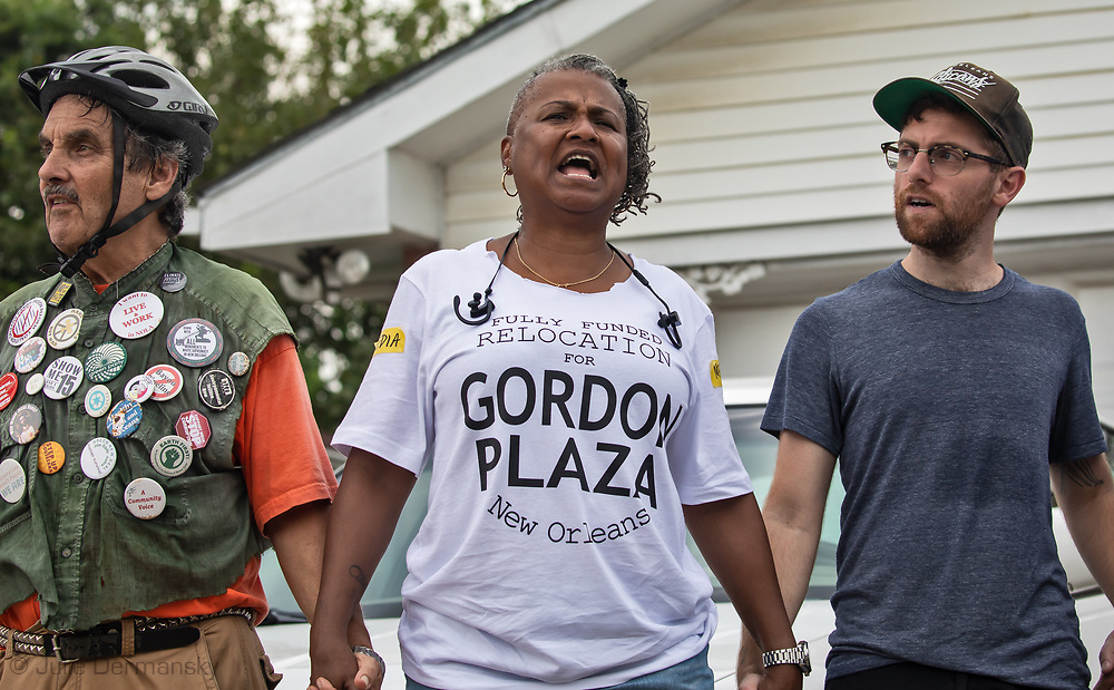 Shannon  Rainey at the<br /> Rally for Healthy  Neighborhoods: A Vision For the Future, held by residents of Gordon Plaza and their supporters. They demand a fully funded relocation from their homes built on top of the Agriculture Street Landfill Site, on land the city sold them.