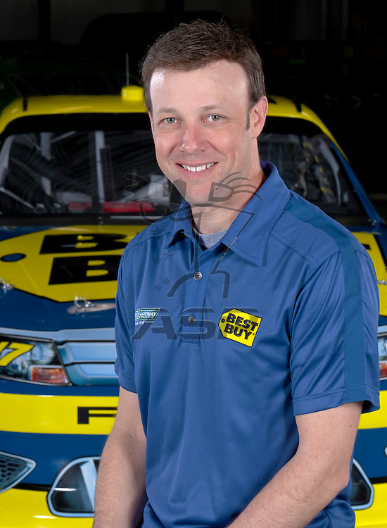 Concord, NC - January 09, 2012:  NASCAR Champion, Matt Kenseth (17), and his Best Buy Ford Fusion at Roush Fenway Racing in Concord, NC.
