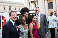 ROME, ITALY - 20 JULY 2014: Mayor of Rome Ignazio Marino (left) poses for a press picture with the De Blasio family at the Campidoglio (the municipal government), in Rome, Italy, on July 20th 2014.<br /> <br /> New York City Mayor Bill de Blasio arrived in Italy with his family Sunday morning for an 8-day summer vacation that includes meetings with government officials and sightseeing in his ancestral homeland.