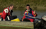 Putney, Greater London, Great BRITAIN, 23/03/2003.Varsity pre boat race fixture - Cambridge University Boat Club v Croatia National Eight, Crew.Cambridge coachs' leftMartin McELROY and Robin WILLIAMS,[Mandatory Credit Peter Spurrier/Intersport Images] Varsity: Boat Race