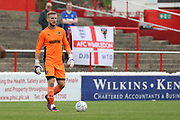 AFC Wimbledon goalkeeper George Long (1) with the ball at his feet during the Pre-Season Friendly match between Ebbsfleet and AFC Wimbledon at Stonebridge Road, Ebsfleet, United Kingdom on 29 July 2017. Photo by Matthew Redman.