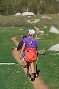 Kids hiking on the Cottonwood Lakes Trail, John Muir Wilderness, Sierra Nevada Mountains, California