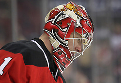Feb 16; Newark, NJ, USA; New Jersey Devils goalie Johan Hedberg (1) during the first period of their game against the Carolina Hurricanes at the Prudential Center.