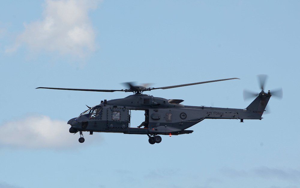 The RNZAF's new NH90 Helicopter in the 75th Anniversary Airshow at Ohakea Airforce base, New Zealand, Saturday, 31 March, 2012. Credit:SNPA / John Cowpland