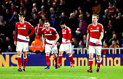 Middlesbrough players looks frustrated after conceding a goal - Mandatory by-line: Robbie Stephenson/JMP - 14/12/2016 - FOOTBALL - Riverside Stadium - Middlesbrough, England - Middlesbrough v Liverpool - Premier League