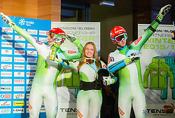 Miha Kuerner, Marusa Ferk and Klemen Kosi during the Ski Association of Slovenia Fashion Show where Slovene Ski Legends and current Slovenian World Cup skiers present new SLOSKI Alpine official clothing design at Day 1 of FIS Alpine Ski World Cup 54th Vitranc Cup 2015, on March 14, 2015 in Kompas Hotel, Kranjska Gora, Slovenia. Photo by Vid Ponikvar / Sportida