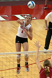 09 OCT 2005 Brave Lindsay Stalzer finds the power alley. ..The Illinois State University Redbirds hosted arch rival Bradley University Braves.  The Redbirds soared over the Braves, taking the match in 4 games, losing only game number 2.  Action included play by Braves Star Lindsey Stalzer who is ranked no. 7 in the nation in kills per game.  The first defeat of the conference season for the Braves took place at Redbird Arena on Illinois State's campus in Normal IL.