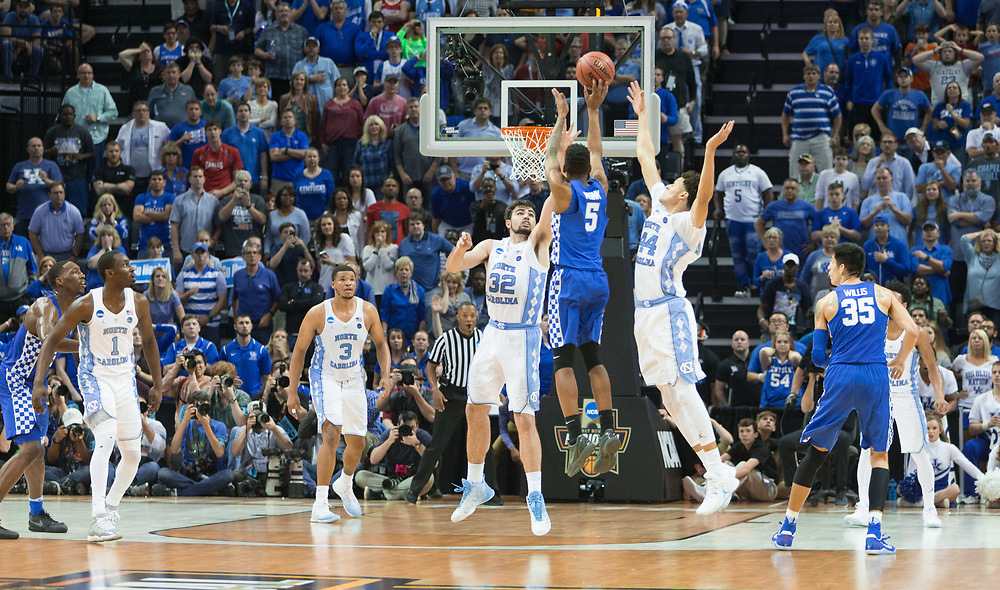 Kentucky guard Malik Monk hits a three point basket late in the second half to tie the game 73-73. North Carolina forward Luke Maye would hit the go ahead two pointer on the next possession.<br /> <br /> The University of Kentucky hosted the University of North Carolina in a 2017 NCAA D1 Men's South Regional Championship, Sunday, March 26, 2017 at FedExForum in Memphis.