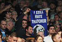 Football - 2015 / 2016 Premier League - Leicester City vs. Everton<br /> <br /> Leicester City fan with a banner,  still hate Maggie Thatcher inside the King Power Stadium.<br /> <br /> COLORSPORT/ANDREW COWIE