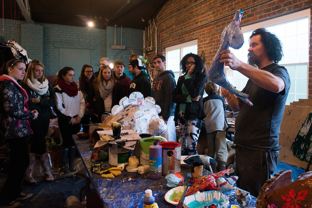 Artist in Residence Daniel Polnau gives Ohio University students a tour of Honey for the Heart located at 29 E. Carpenter St. in Athens, Ohio.