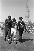 09/06/1963<br /> 06/09/1963<br /> 09 June 1963<br /> Soccer International: Ireland v Scotland at Dalymount Park Dublin. Ireland won the game 1-0 with a goal from Captain Noel Cantwell. Noel Peyton (Ireland) being taken of just before half time, to be replace by Ambrose Fogarty after an injury.
