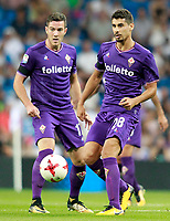 ACF Fiorentina's Gil Dias (r) and Jordan Veretout during Santiago Bernabeu Trophy. August 23,2017. (ALTERPHOTOS/Acero)