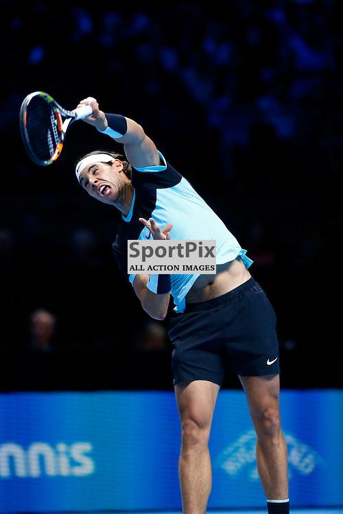 Rafael Nadal serving. ATP Finals 2015 at O2 Arena, London. Stanislas Wawrinka plays Rafael Nadal in their first match in the Group Ilie Nastase. 16th November 2015. (c) Matt Bristow | SportPix.org.uk