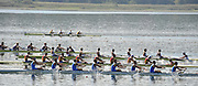 Varese,  ITALY. 2012 FISA European Championships, Lake Varese Regatta Course. ..Lane 2 - Second down from top. GBR M8+. Bow Mason DURRANT, Peter ROBINSON, Thomas CLARK, Lance TREDWELL, Oliver COOK, Fred GILL, Scott DURANT and Cox Henry FIELDMAN. Approach the finish line  and qualify for Sundays  Men's Final..13:23:08  Saturday  15/09/2012 .....[Mandatory Credit Peter Spurrier:  Intersport Images]  ..2012 European Rowing Championships Rowing, European,  2012 010852.jpg.....