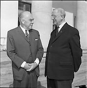02/08/1962<br /> 08/02/1962<br /> 02 August 1962<br /> Ambassador Oil Co. representatives at Aras an Uachtarain.<br /> Picture shows Mr F. Kirk Johnston, (left) Chairman of Ambassador Oil Corporation and President of Ambassador Irish Oil Co., chats with President Eamon de Valera.