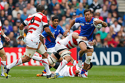 Samoa Full Back Tim Nanai-Williams is tackled by Japan Lock Luke Thompson - Mandatory byline: Rogan Thomson/JMP - 07966 386802 - 03/10/2015 - RUGBY UNION - Stadium:mk - Milton Keynes, England - Samoa v Japan - Rugby World Cup 2015 Pool B.