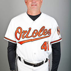 Feb 22, 2013; Sarasota, FL, USA; Baltimore Orioles pitching coach Rick Adair (41) at the Orioles clubhouse. Mandatory Credit: Derick E. Hingle-USA TODAY Sports