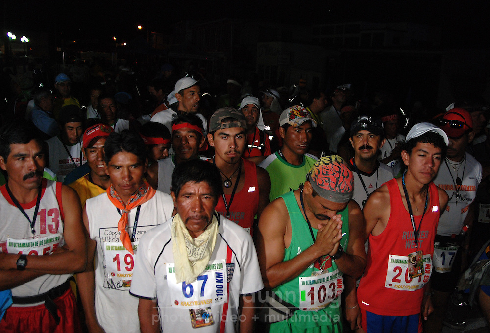 """Mexico, Chihuahua, Guachochi, July 17, 2010. A truly remarkable 100 kilometer """"ultra-marathon"""" is held each year in Chihuahua's rugged Tarahumara country. Drawing hundreds of participants from all over the world to the scenic town of Guachochi, the course for this grueling endurance race takes runners in and then up out of the 1,830 meter deep """"Barranca Sinforosa,"""" part of Mexico's famous Copper Canyon area. More at MexicoCulturalCalendar.com"""