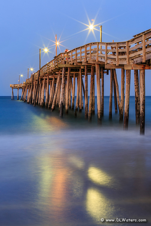 Nags head fishing pier at twilight on the outer banks for Nags head fishing pier