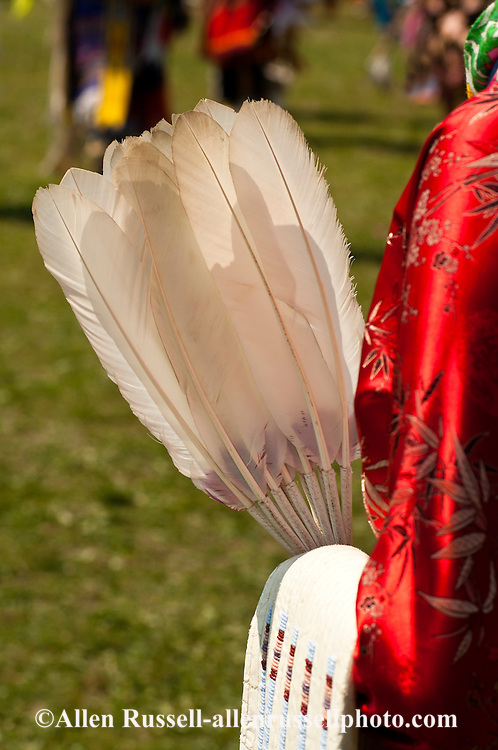 Traditional dancer, Crow Fair powwow, eagle fan, Crow Indian Reservation, Montana