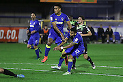 AFC Wimbledon striker Lyle Taylor (33) and AFC Wimbledon striker Andy Barcham (17) during the The Emirates FA Cup 1st Round Replay match between AFC Wimbledon and Bury at the Cherry Red Records Stadium, Kingston, England on 15 November 2016. Photo by Stuart Butcher.