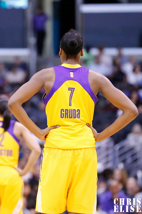 18 May 2014: Los Angeles Sparks forward/center Sandrine Gruda (7) is seen during the Phoenix Mercury 74-69 victory over the Los Angeles Sparks, at the Staples Center, Los Angeles, California, USA.