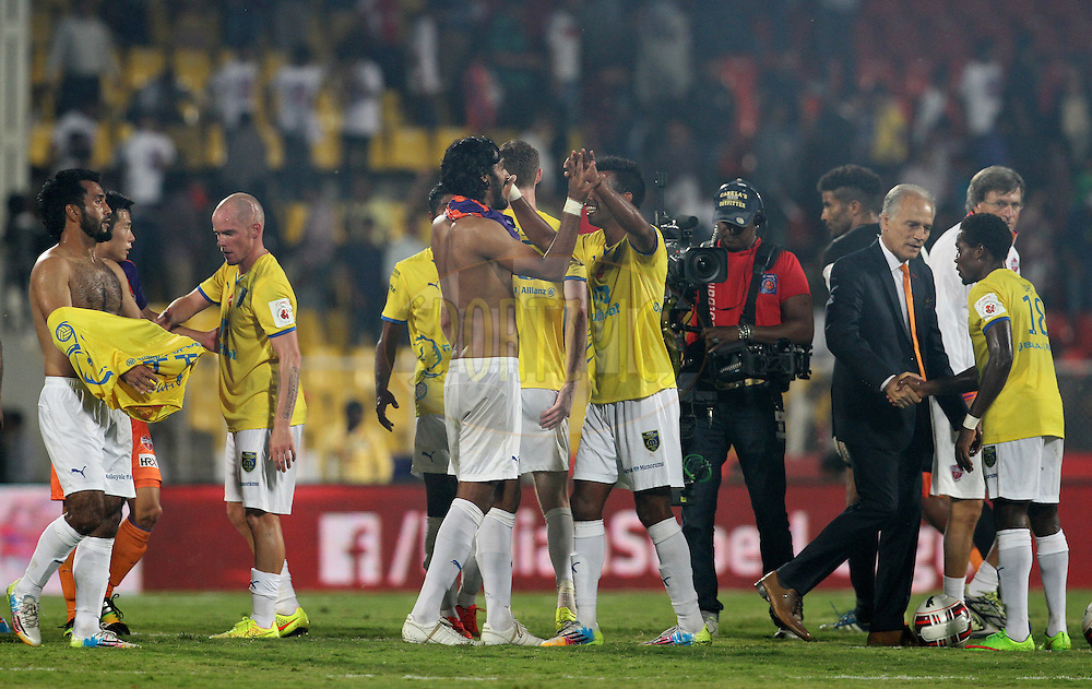 Kerala Blasters FC players after winning the match 17 of the Hero Indian Super League between FC Pune City and Kerala Blasters FC held at the Shree Shiv Chhatrapati Sports Complex Stadium, Pune, India on the 30th October 2014.<br /> <br /> Photo by:  Vipin Pawar/ ISL/ SPORTZPICS