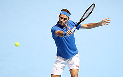 Roger Federer during the men's singles match during day five of the Nitto ATP Finals at The O2 Arena, London.