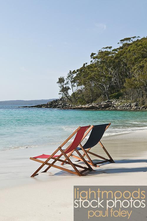 Beach chairs, deserted Australian Beach. South Coast, NSW