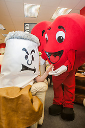 Big Cig and Hearty at the Sheffield City Centre BHF Furniture & Electrical Store taking part in Stop Smoking Sheffield, a  part of the No smoking Day Campaign<br /> <br /> 2 March 2015<br /> Image © Paul David Drabble <br /> www.pauldaviddrabble.co.uk