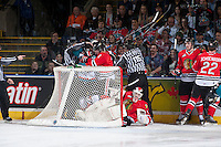 KELOWNA, CANADA - APRIL 18: Brendan Burke #1 of the Portland Winterhawks climbs out of the net after a collision between the Portland Winterhawks and the # of the Kelowna Rockets on April 18, 2014 during Game 1 of the third round of WHL Playoffs at Prospera Place in Kelowna, British Columbia, Canada.   (Photo by Marissa Baecker/Shoot the Breeze)  *** Local Caption *** Brendan Burke;