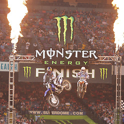 14 March 2009: James M Stewart (7) takes first place finishing the race ahead of Justin Brayton (114) during the Main Event of the Monster Energy AMA Supercross race at the Louisiana Superdome in New Orleans, Louisiana