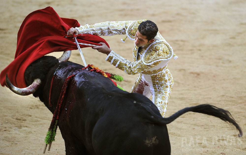 Spanish matador Serafin Martin kills with sword his Conde de la Corte fighting bull during the first corrida of the San Fermin festivities, on July 7, 2008, in Pamplona, northern Spain.