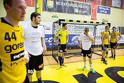 Mitja Nosan of Gorenje, Kristian Beciri of Gorenje, Janez Gams of Gorenje, Rok Golcar of Gorenje and Jernej Papez of Gorenje look rejected after the handball match between RK Gorenje Velenje and RK Celje Pivovarna Lasko in Final match of 1st NLB League - Slovenian Championship 2013/14 on May 23, 2014 in Rdeca dvorana, Velenje, Slovenia. RK Celje Pivovarna Lasko became 18-times Slovenian National Champion. Photo by Vid Ponikvar / Sportida