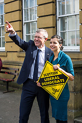 Pictured: Willie Rennie and Musselburgh ward candidate Claire Graham<br /> Scottish Liberal  Party leader Willie Rennie joined with local candidates and supporters in Mussleburgh today as part of a whistle stop tour to launch the Scottish Liberal Democrates manifesto for the upcoming council elections<br /> <br /> Ger Harley | EEm 28 February 2017