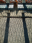 Benches, shadows, leaves, and a fence create a graphic composition along a concrete path in Central Park, New York City.