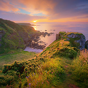 The ruins of Findlater Castle. Findlater Castle is the old seat of the Earls of Findlater and Seafield, sitting on a 50-foot-high cliff overlooking the Moray Firth on the coast of Banff and Buchan, Aberdeenshire, Scotland