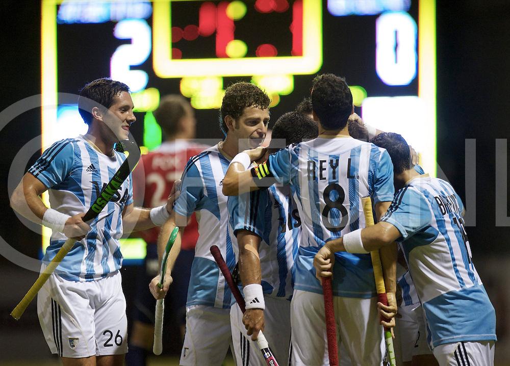 Johor Bahru HWL men semi  - Hock World League Semi <br /> Half Final Argentina v England<br /> foto: 3-0  celebrating Argentina.<br /> FFU PRESS AGENCY COPYRIGHT FRANK UIJLENBROEK