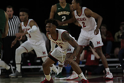 November 14, 2017 - Oxford, Ohio, U.S - Miami (Oh) Redhawks guard Nike Sibande (1) set up on Wed  Nov 14, 2017. During play with Wright State Raiders in Oxford,Ohio. As the Redhawks got on to bet the Raiders  73 to 67 in over time. (Credit Image: © Ernest Coleman via ZUMA Wire)