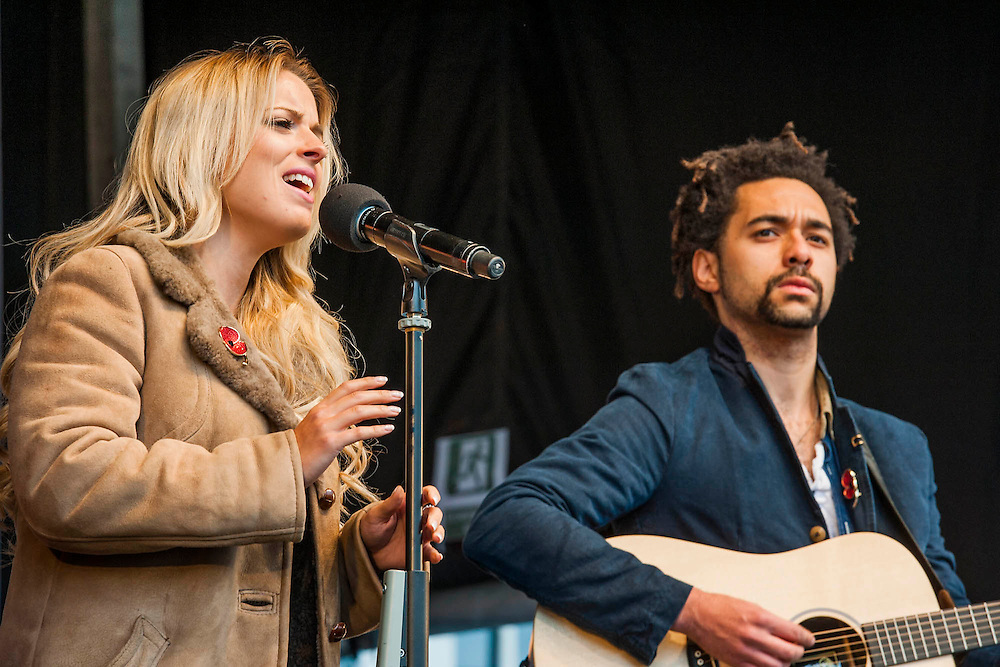 The Shires sing Brave. A remembrance event in Trafalgar Square included a two minute silence and poppies being placed in the fountains.