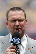 LOS ANGELES, CA - JULY 31:  Television color commentator Mark Grace of FOX Sports television talks about the matchup before the Los Angeles Dodgers game against the Arizona Diamondbacks on July 31, 2011 at Dodger Stadium in Los Angeles, California. The Diamondbacks won the game 6-3. (Photo by Paul Spinelli/MLB Photos via Getty Images) *** Local Caption *** Mark Grace