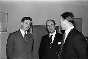 10/05/1965<br /> 05/10/1965<br /> 10 May 1965<br /> (Left to right) Mr. John Costello, architect, Mr. A. Kennedy Kirsch, chairman and managing director of M.E.P.C. (Ireland) Ltd., and Mr. G. C. Crampton, managing director of G. &amp; T. Crampton Ltd., chat about the contract for the building of the Stillorgan Shopping Centre.